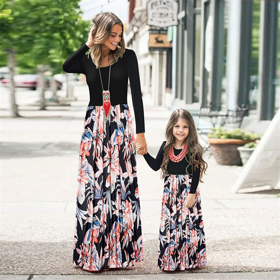 Dress Family Look Graphic Print Black Maxi Long Sleeve Matching Outfits / Summer