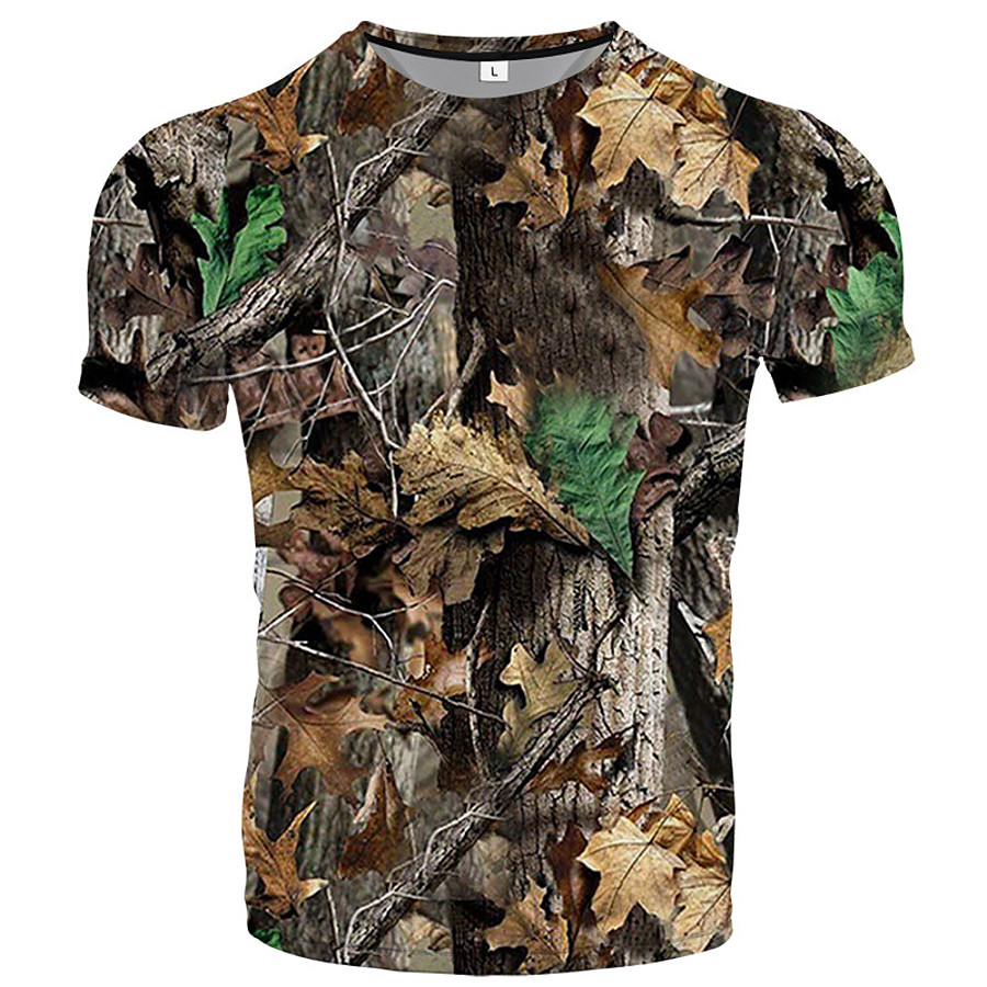 Men's Hunting T-shirt Tee shirt Short Sleeve Outdoor Summer Breathability Wearable Quick Dry Soft Polyester Yellow Brown