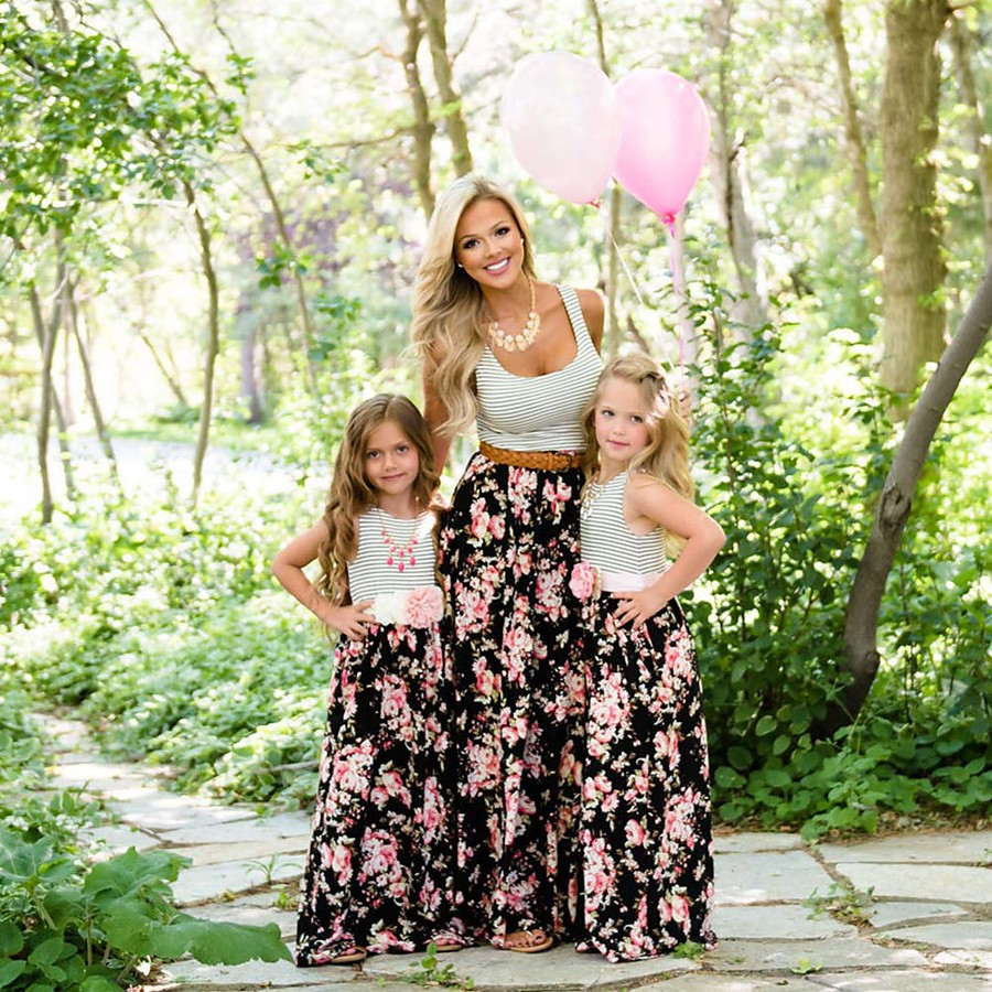 Dress Mommy and Me Graphic Print Black Maxi Sleeveless Matching Outfits / Summer