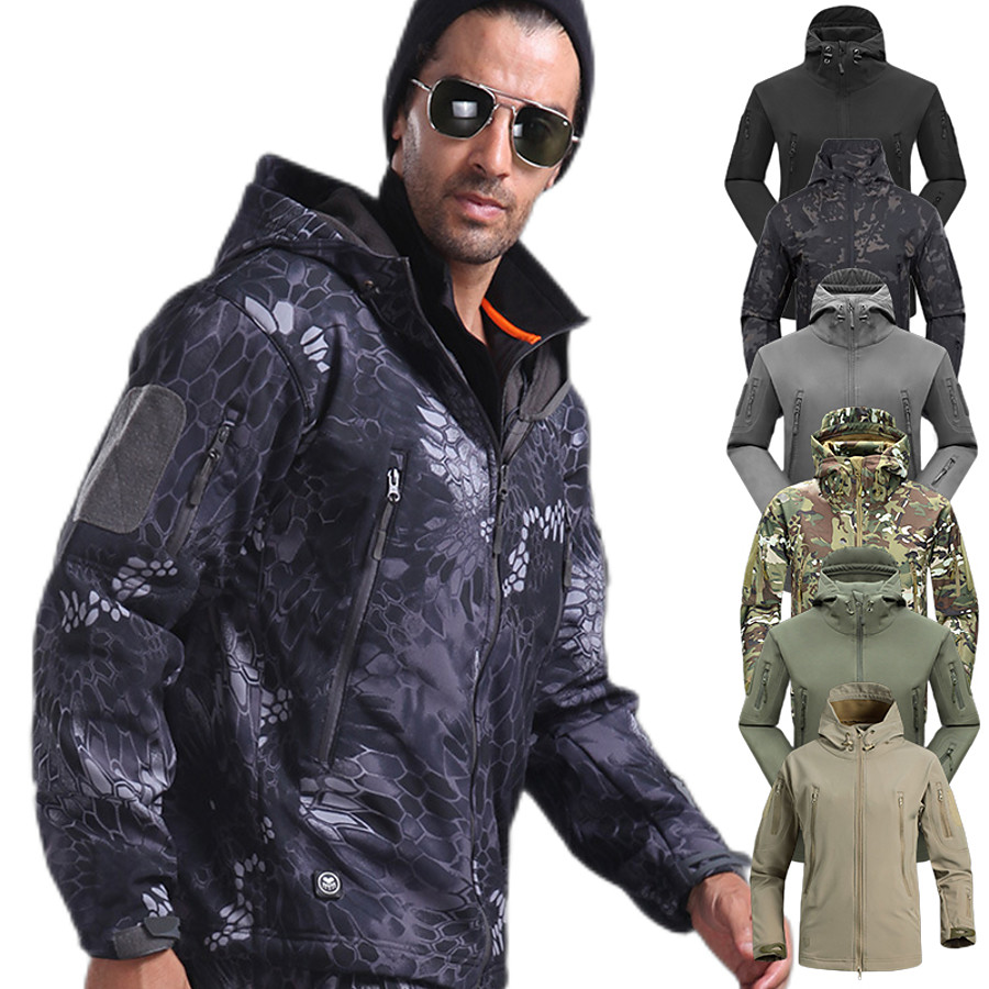 Men's Hoodie Jacket Camouflage Hunting Jacket Military Tactical Jacket Outdoor Autumn / Fall Spring Summer Thermal Warm Waterproof Windproof Quick Dry Jacket Camo / Camouflage Fleece Polyester