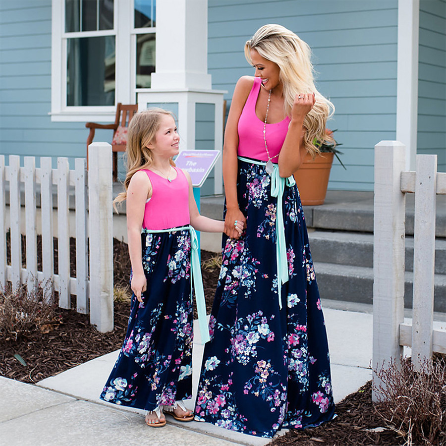 Dress Mommy and Me Graphic Print Blushing Pink Maxi Sleeveless Matching Outfits / Summer