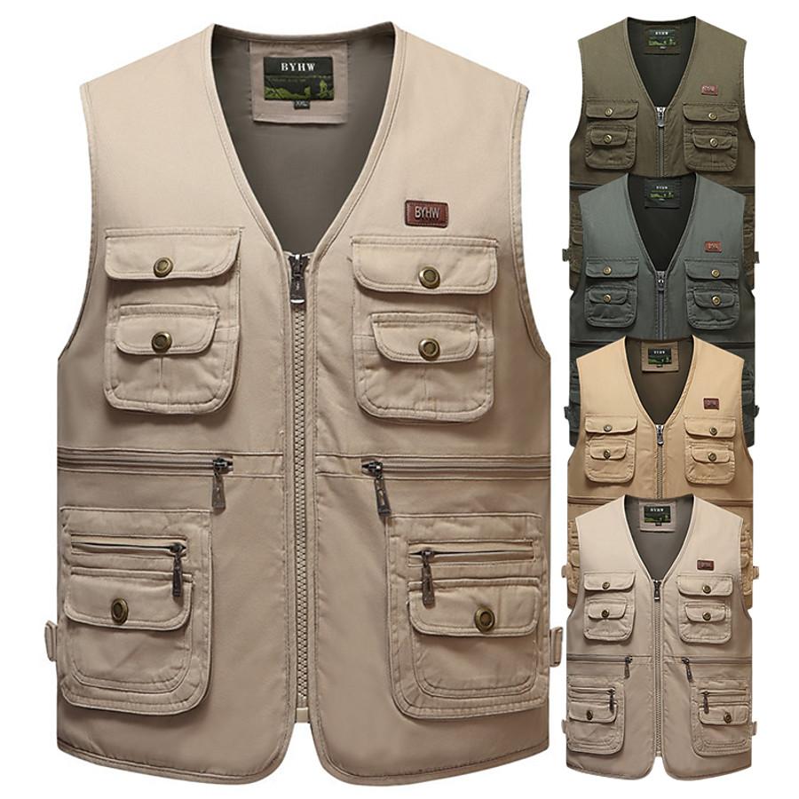 outdoor safari photographer's vest travel vest hiking vest fishing vest sports vest utility vest bird watching vest durable work vest keep all of your items within reach (tan, xl)