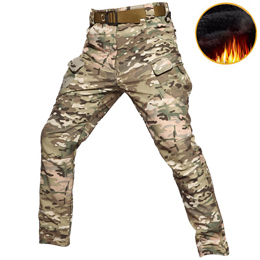 Men's Camouflage Hunting Pants Tactical Pants Softshell Pants Thermal Warm Waterproof Windproof Multi-Pockets Autumn / Fall Winter Camo / Camouflage Nylon Bottoms for Camping / Hiking Hunting Combat