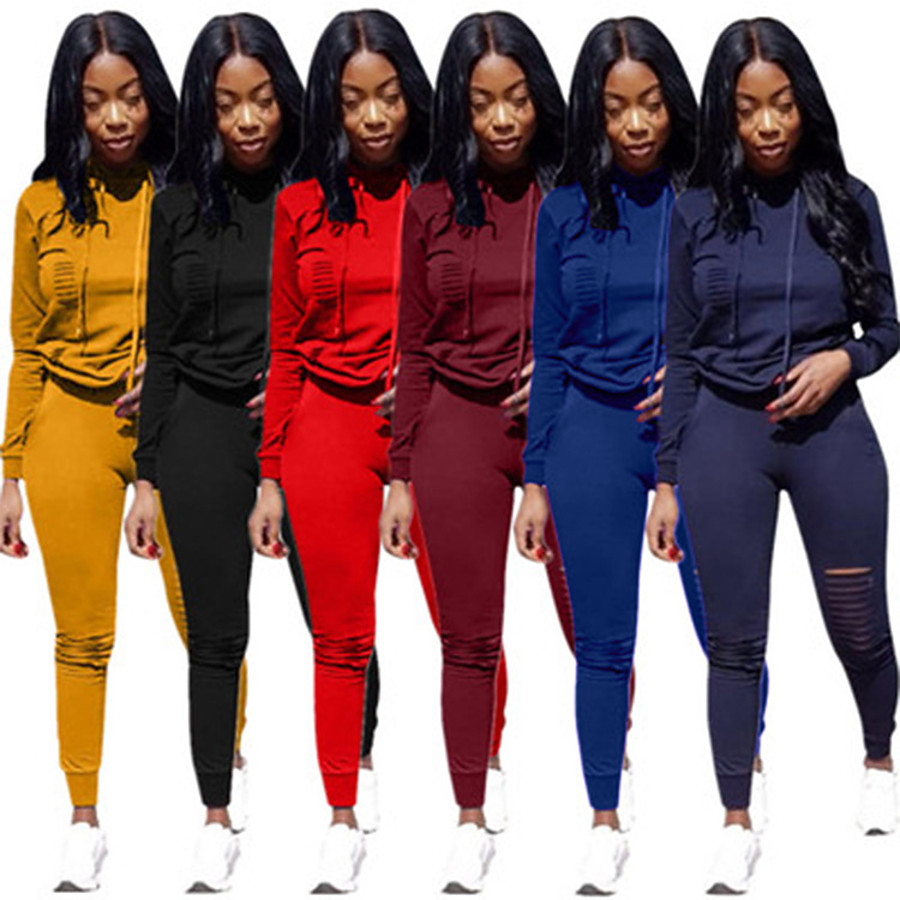 Women's 2 Piece Tracksuit Sweatsuit Jogging Suit Street Casual Long Sleeve Moisture Wicking Quick Dry Breathable Running Active Training Jogging Sportswear Solid Colored Hoodie Black Yellow Red
