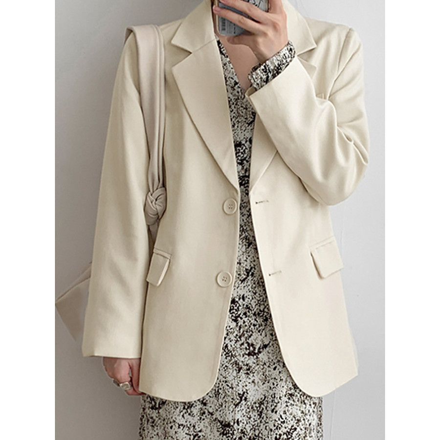 Women's Blazer Buckle Solid Colored Suits Coat Dailywear Spring & Summer Regular Single Breasted One-button Jacket Blushing Pink