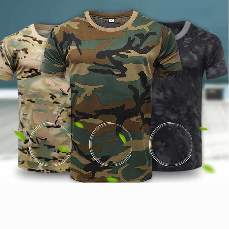 Men's Camo Camouflage Hunting T-shirt Tactical Military Shirt Short Sleeve Outdoor Quick Dry Breathable Sweat-Wicking Summer Polyester Top Camping / Hiking Hunting Performance Combat Army Green