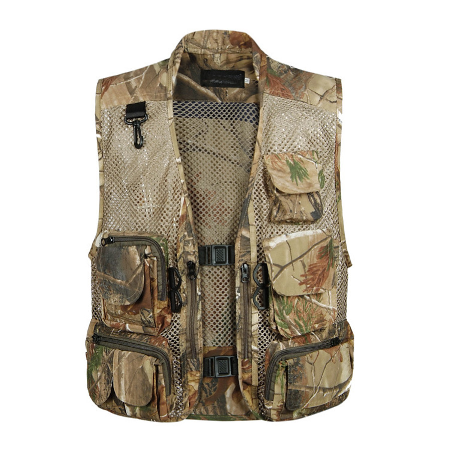 Men's Fishing Vest Hiking Vest Outdoor Spring Summer Multi-Pockets Wearable Breathable Comfortable Vest / Gilet Camo Solid Colored Mesh Polyester Army Green Dark Green Grey