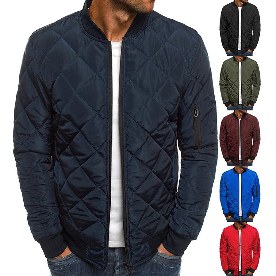 Men's Padded Hiking jacket Winter Outdoor Diamond Quilted Windproof Warm Soft Comfortable Winter Jacket Top Cotton Full Zipper Camping Hiking Hunting Fishing Black Red Army Green Burgundy