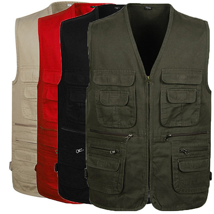 Men's Fishing Vest Outdoor Spring Summer Wearable Breathable Comfortable Solid Colored Cotton Yellow Red Army Green