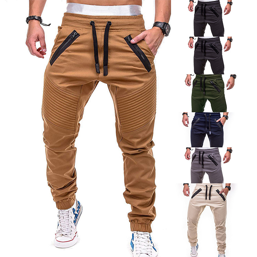 Men's Joggers Tactical Cargo Pants Pants / Trousers Sweatpants Athleisure Wear Drawstring Beam Foot Fitness Gym Workout Leisure Sports Running Thermal Warm Breathable Plus Size Sport Cream Black Grey