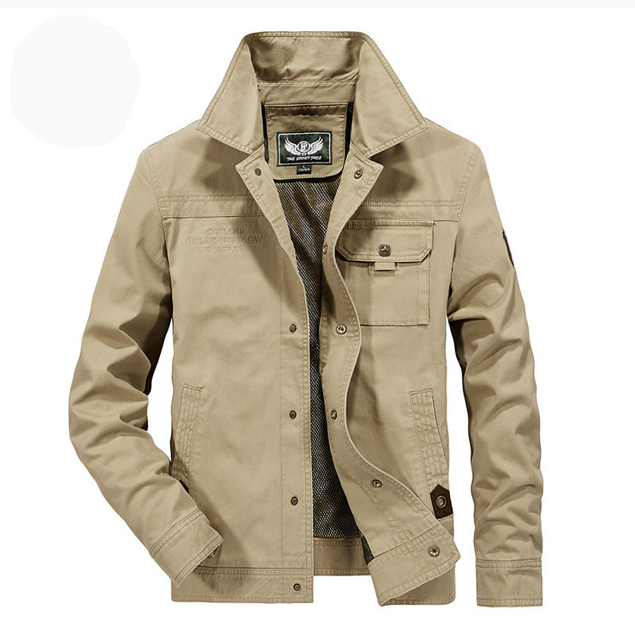 Men's Cotton Bomber Jacket Military Tactical Jacket Outdoor Windproof Quick Dry Lightweight Breathable Coat Top Hunting Fishing Climbing ArmyGreen khaki Navy Blue