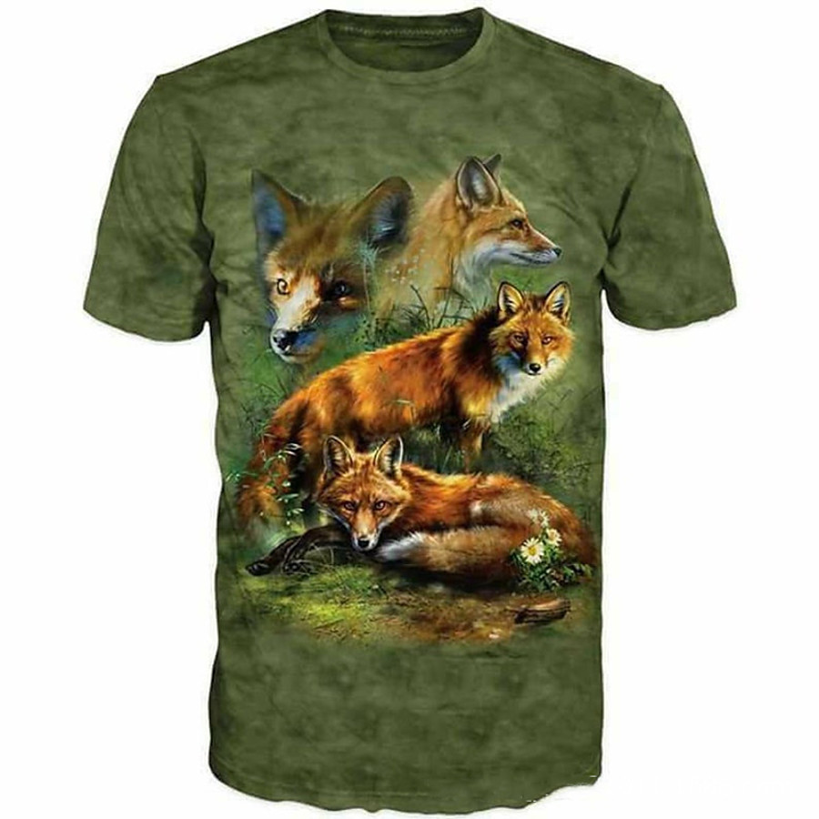 Men's Hiking Tee shirt Hunting T-shirt Tee shirt Camouflage Hunting T-shirt 3D Camo / Camouflage Deer Short Sleeve Outdoor Summer Wearable Quick Dry Breathable Soft Top Cotton Polyester Camping