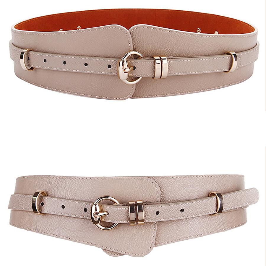 Women's Wide Belt Brown Pink Party Wedding Street Daily Belt Solid Color / Khaki / Winter / Spring / Summer / Work