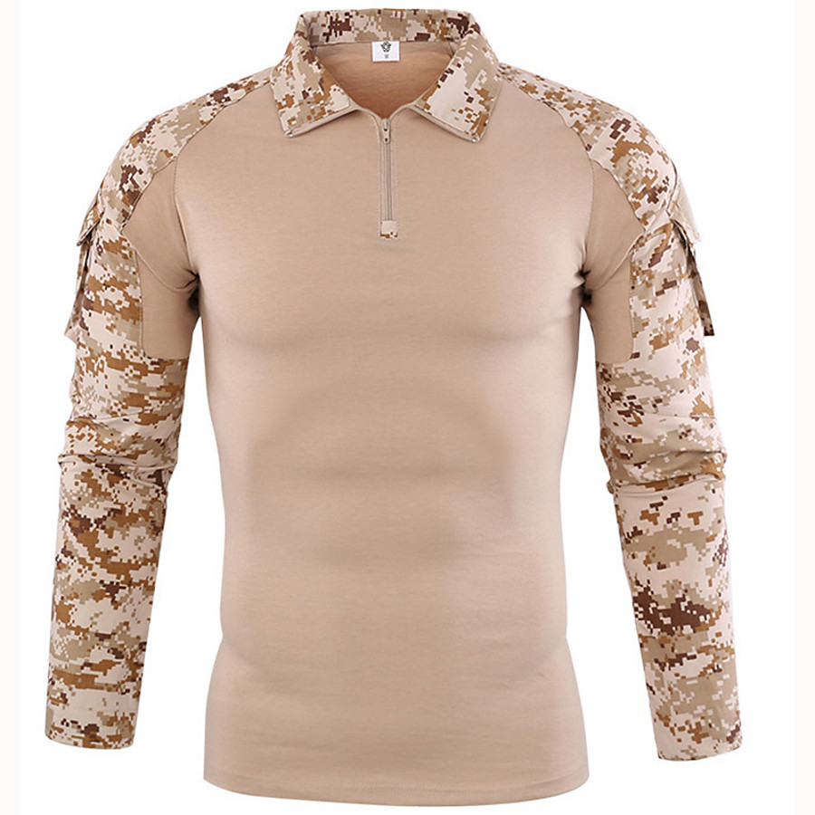 Men's Hunting T-shirt Tee shirt Camo Shirt Combat Shirt Outdoor Quick Dry Breathable Sweat-Wicking Wear Resistance Autumn / Fall Spring Summer Cotton Top Camping / Hiking Hunting Jungle camouflage