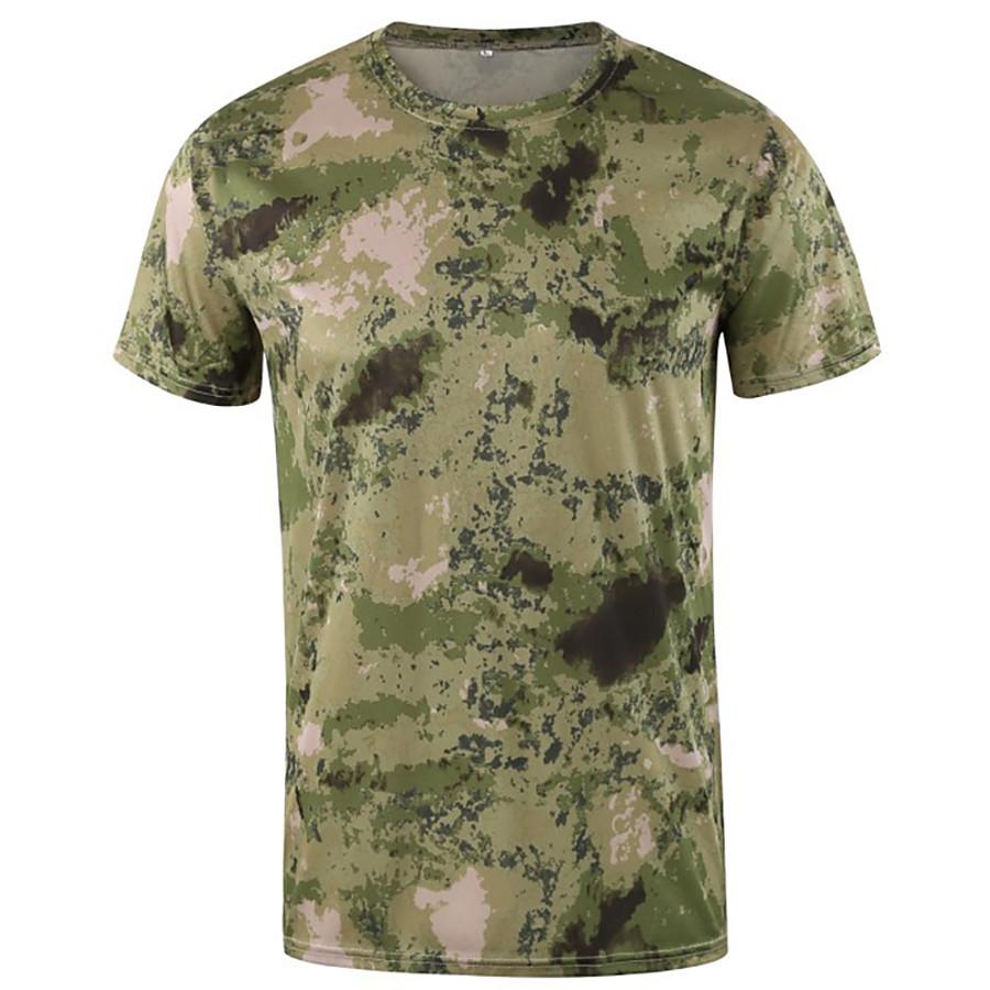 Men's Sweatshirt Hiking Tee shirt Hunting T-shirt Tee shirt Camo Short Sleeve Outdoor Spring Summer Quick Dry Breathable Soft Sweat wicking Top Nylon Cotton Camping / Hiking Hunting Fishing Casual