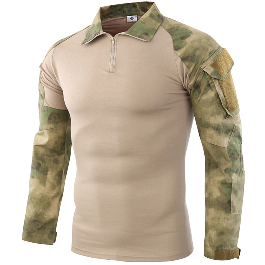 Men's Solid Colored Camo / Camouflage Hunting T-shirt Tee shirt Tactical Military Shirt Camo Shirt Long Sleeve Outdoor Windproof Quick Dry Breathable Comfortable Autumn / Fall Spring Summer Terylene