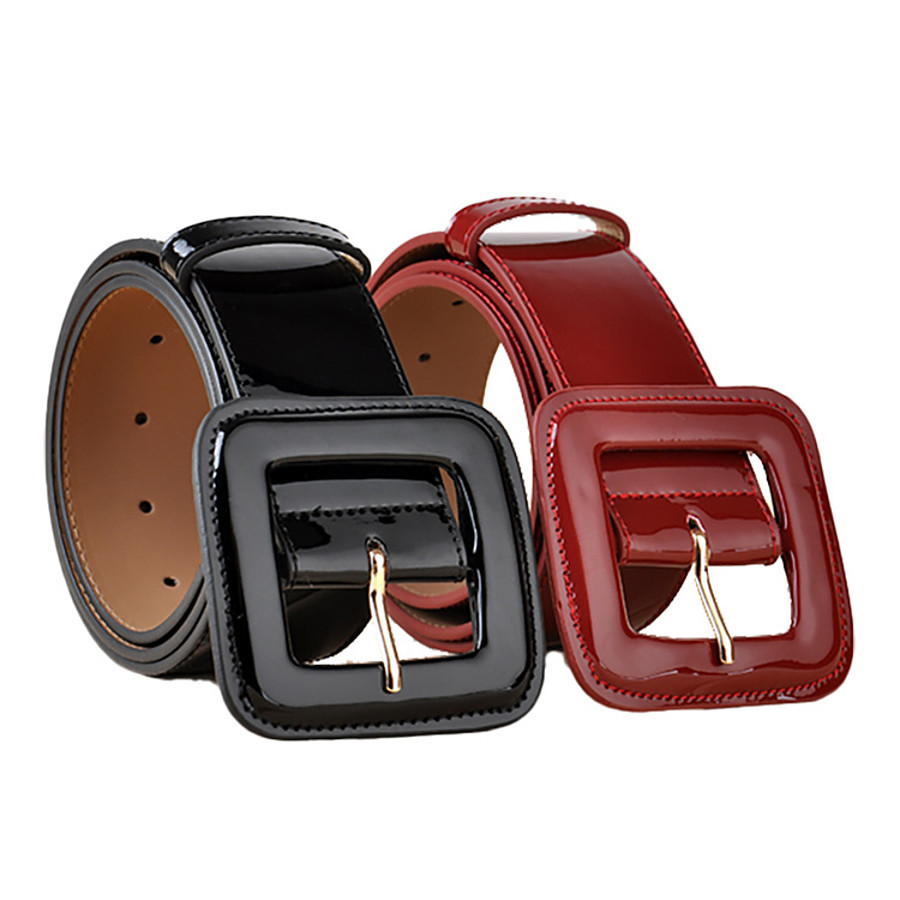european style fashion patent leather wide waist, black and red decorative coat leather belt, all-match cowhide belt ladies wholesale