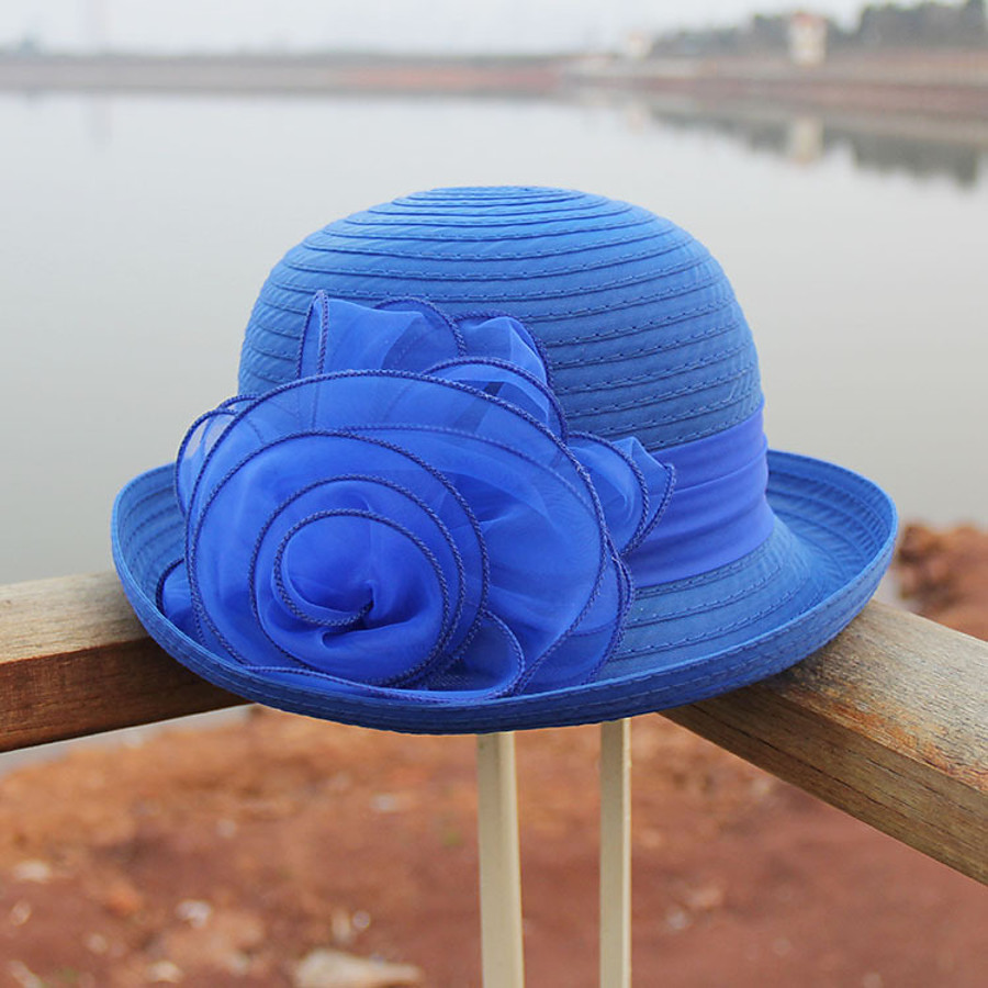 Women's Party Hat Flower Party Street Holiday Red Blue Solid Color Hat / Fall / Winter / Spring / Summer
