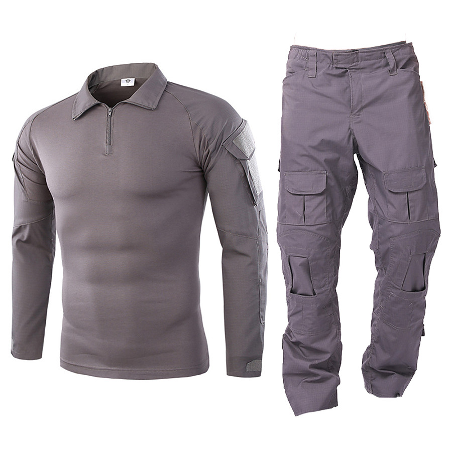 Men's Hiking Shirt with Pants Hunting Suit Tactical Military Shirt Outdoor Autumn / Fall Spring Summer Multi-Pockets Quick Dry Breathable Wearproof Clothing Suit Camo / Camouflage Long Sleeve