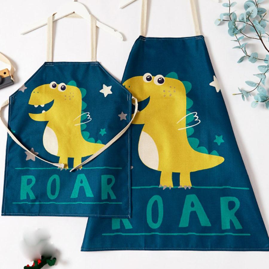All Active Family Look Dinosaur Family Gathering Print Cartoon / Animal Apron Polyester Blue Kid onesize / Adult onesize