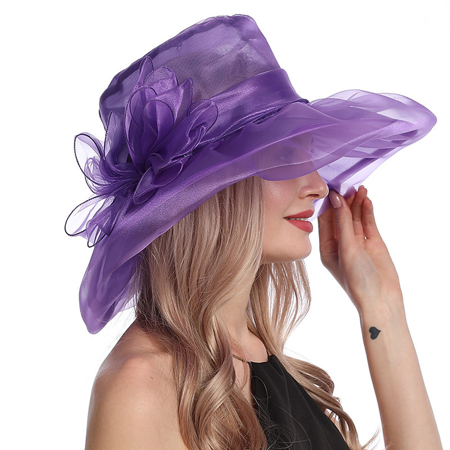 Women's Party Hat Floral Party Wedding Street Yellow Red Pure Color Hat / Blue / Purple / Fall / Winter / Spring