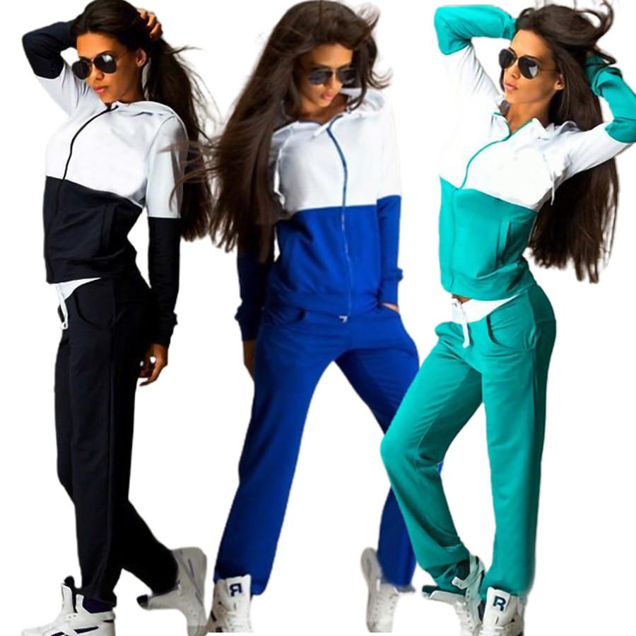 Women's 2 Piece Full Zip Street Casual Tracksuit Hoodie Sweatshirt 2pcs Long Sleeve Thermal Warm Breathable Soft Fitness Running Jogging Sportswear Color Block Sweatpants Normal Pearl Pink Blue Green