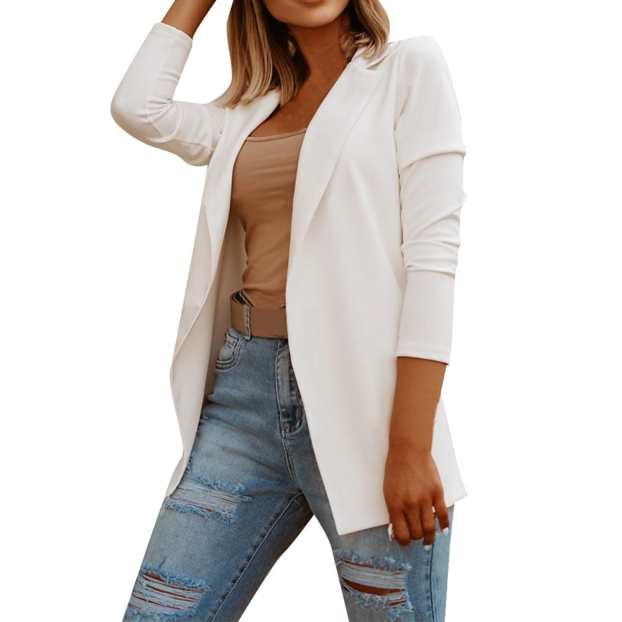 Women's Blazer Fall Spring Daily Work Regular Coat Breathable Regular Fit Business Formal Casual Jacket Long Sleeve Quilted Solid Color White Black