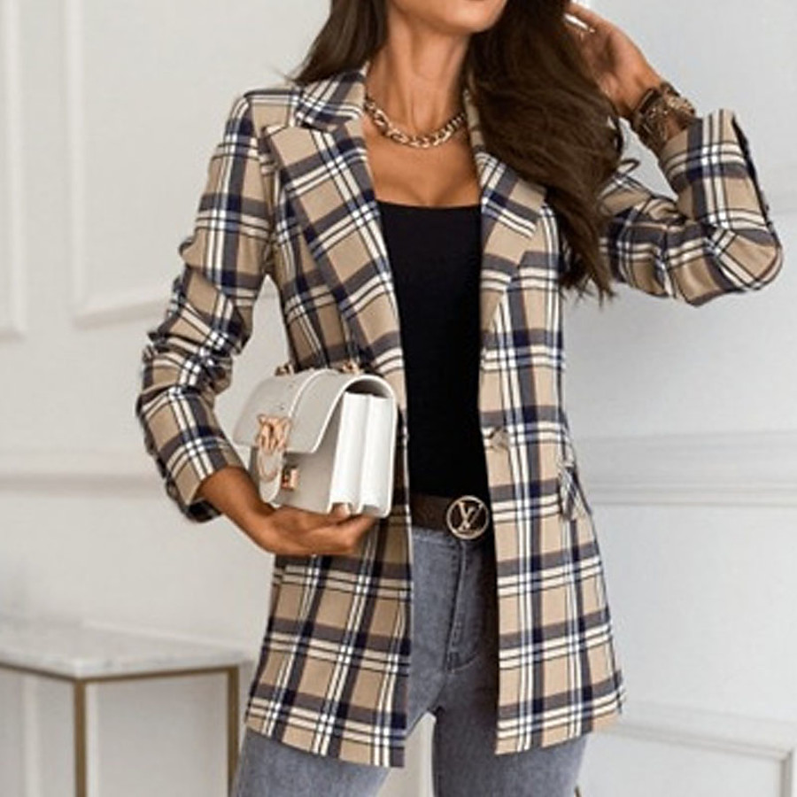 Women's Blazer Fall Daily Regular Coat Warm Regular Fit Casual Jacket Long Sleeve Print Plaid / Check Blue Khaki Red