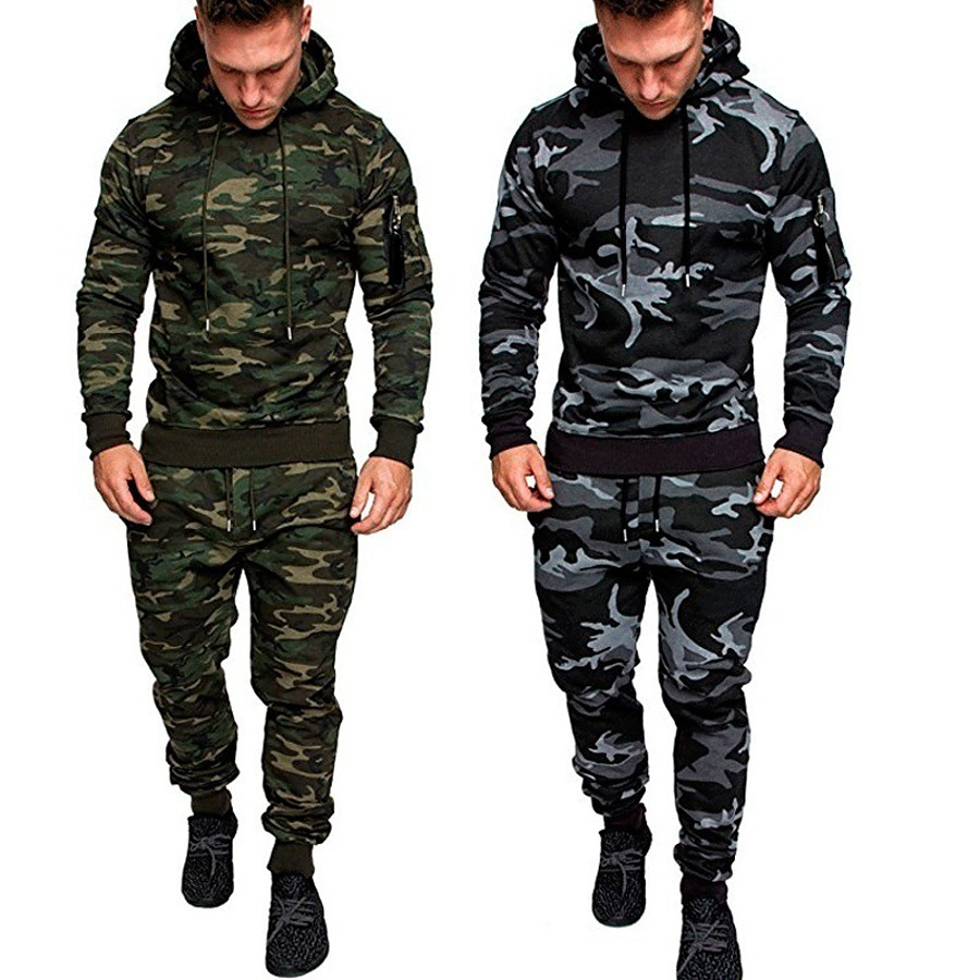 Men's 2 Piece Tracksuit Sweatsuit Jogging Suit Street Casual Long Sleeve Thermal Warm Moisture Wicking Breathable Fitness Running Active Training Jogging Sportswear Hoodie Dark Grey Black Army Green