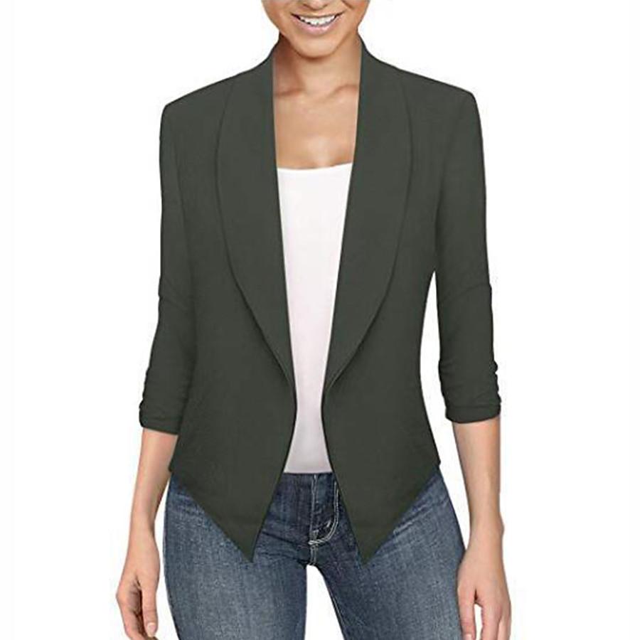 women's cardigan work office Blazer solid color lapel long sleeve Top open front short jacket coat(black, xxxl)