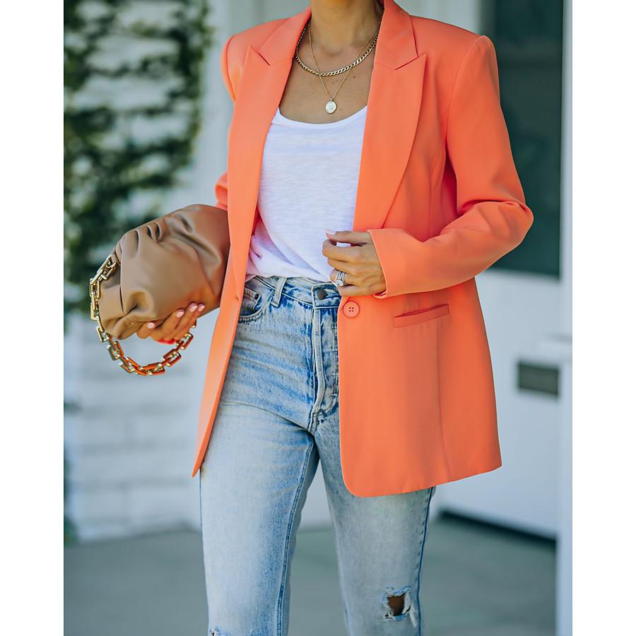 Women's Blazer Fall Spring Business Work Regular Coat Workout Fashion Regular Fit Elegant Casual Jacket Long Sleeve Pocket Button Solid Color Blushing Pink Green Orange
