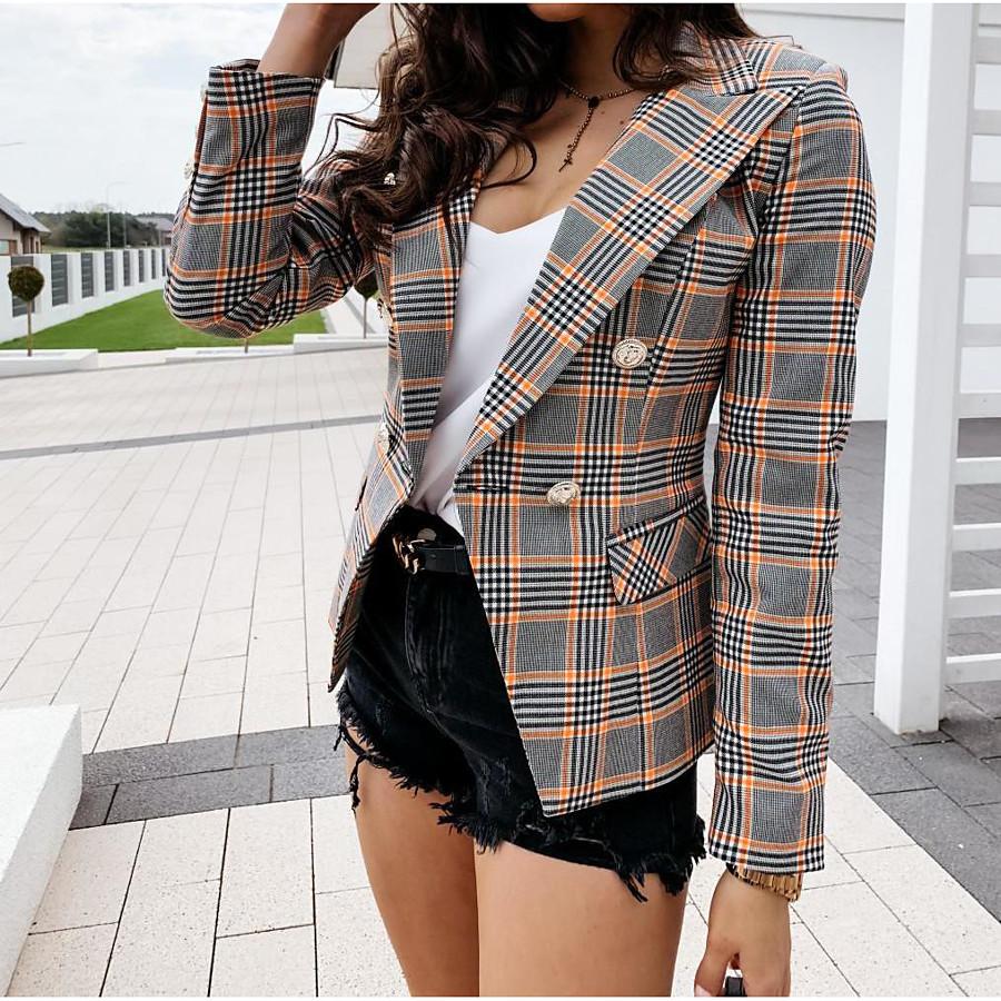 Women's Blazer Spring Summer Causal Daily Regular Coat Regular Fit Streetwear Jacket Hot Stamping Classic Plaid / Check Plaid