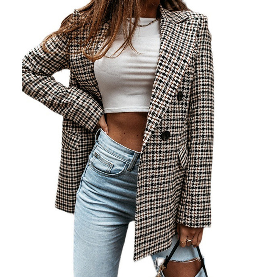 Women's Blazer Spring &  Fall Daily Work Regular Coat Fashion Regular Fit Casual Jacket Long Sleeve Quilted Plaid / Check Gray