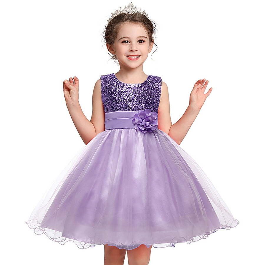 Kids Little Dress Girls' Floral Solid Colored Flower Party Tulle Dress Sequins Layered Purple Fuchsia Pink Sleeveless Princess Sweet Dresses Fall Spring Slim 3-12 Years