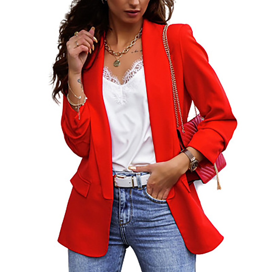 Women's Blazer Fall Spring Daily Work Regular Coat V Neck Breathable Regular Fit Business Casual Jacket Long Sleeve Patchwork Solid Color Khaki Red