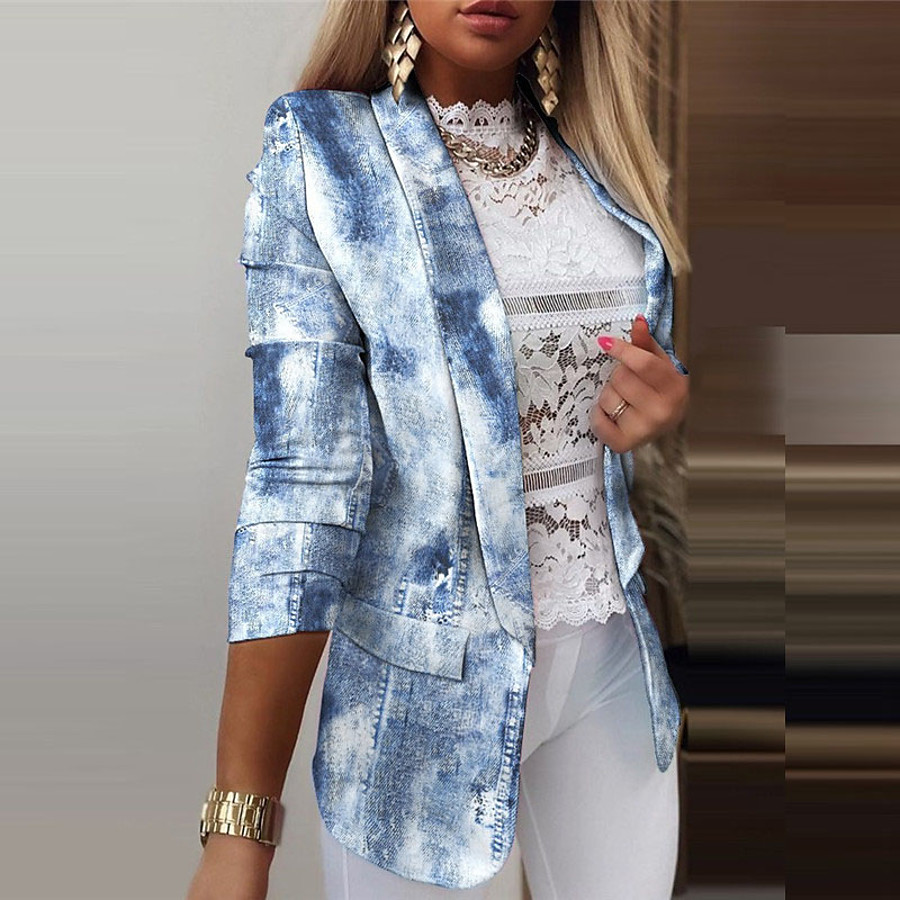 Women's Blazer Fall Spring Daily Work Regular Coat Breathable Regular Fit Casual Jacket Long Sleeve Print Striped Butterfly Blue Blushing Pink White