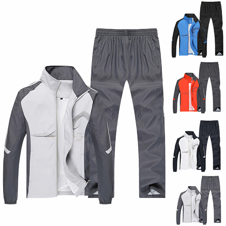 Men's Long Sleeve Adults Tracksuit Sweatsuit Outfit Set Clothing Suit 2 Piece Zipper Pocket 2 Pieces Street Causal Fall Warm Breathable Soft Polyester Fitness Running Jogging Exercise Sportswear