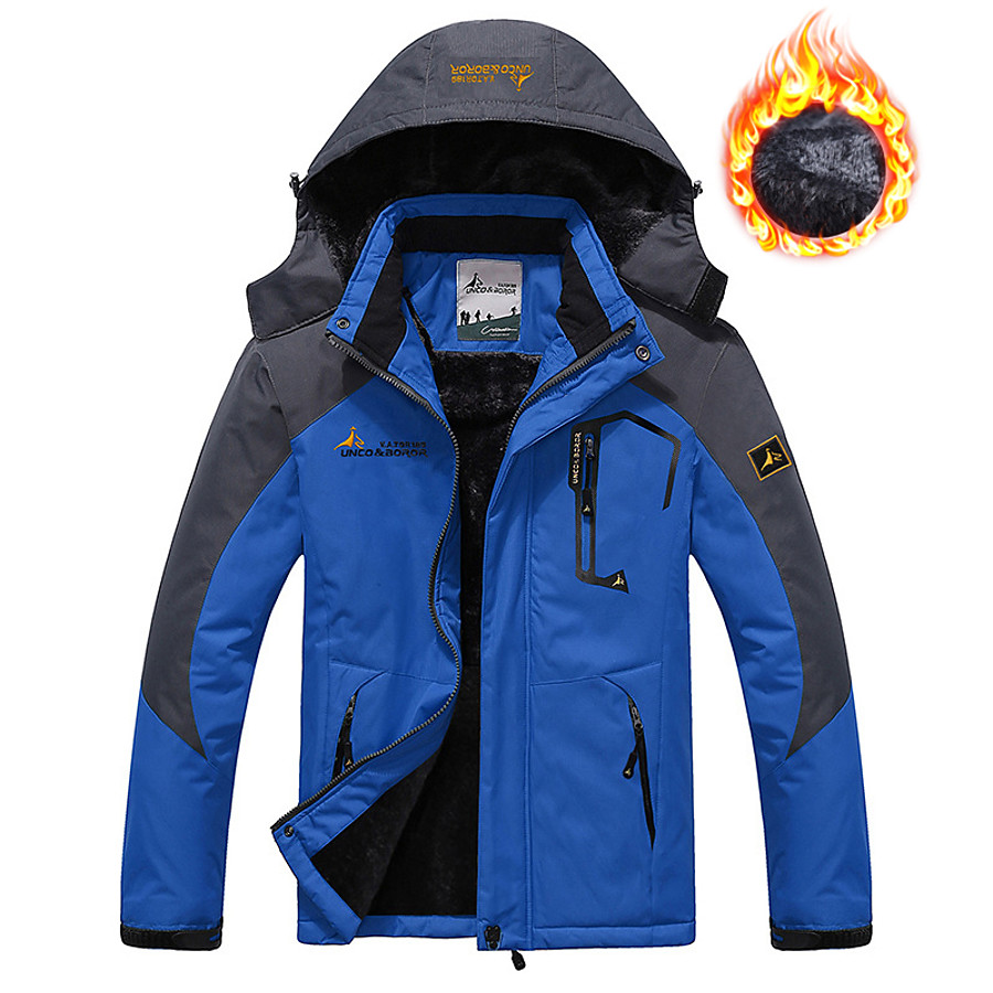 Men's Ski Jacket Fleece Jacket Winter Outdoor Thermal Warm Rain Waterproof Windproof Winter Jacket Coat Top Skiing Camping / Hiking Snowboarding Casual Brown Denim Blue Red Green
