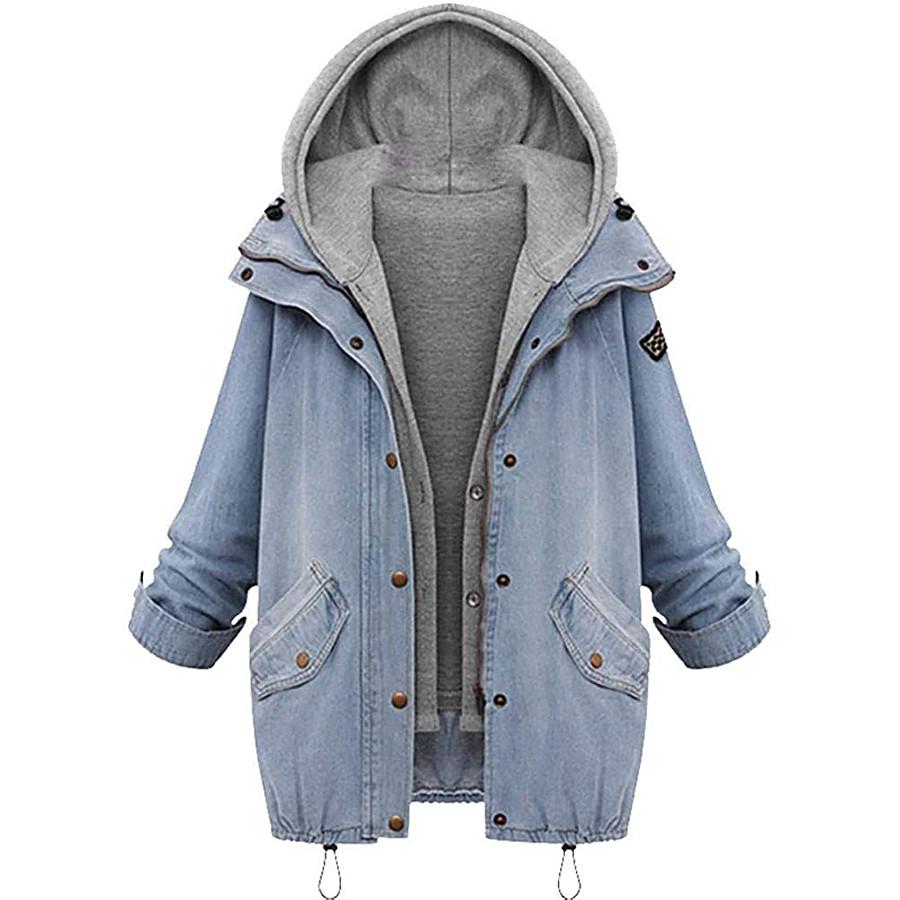 denim jacket hooded coat winter womens warm jacket plus size windbreaker outwear gilet cardigan cowboy coat 2pcs set sweatshirt set