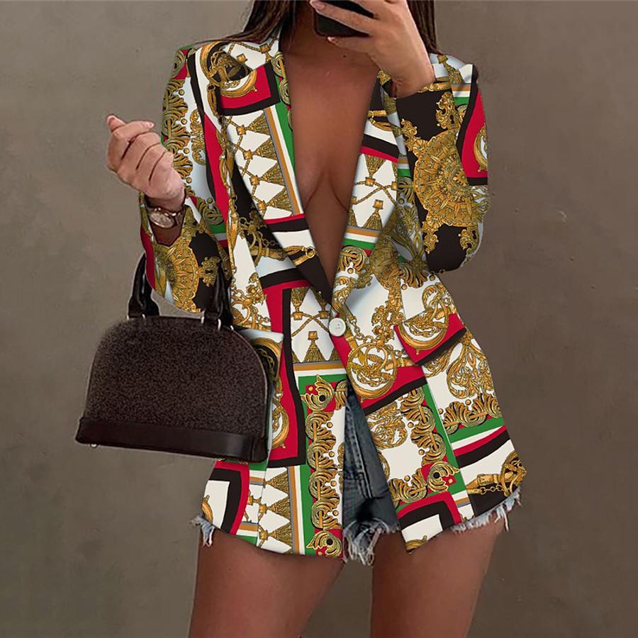 Women's Blazer Fall Winter Street Daily Long Coat Warm Breathable Regular Fit Casual Jacket Long Sleeve Print Color Block Symbol Gold Black