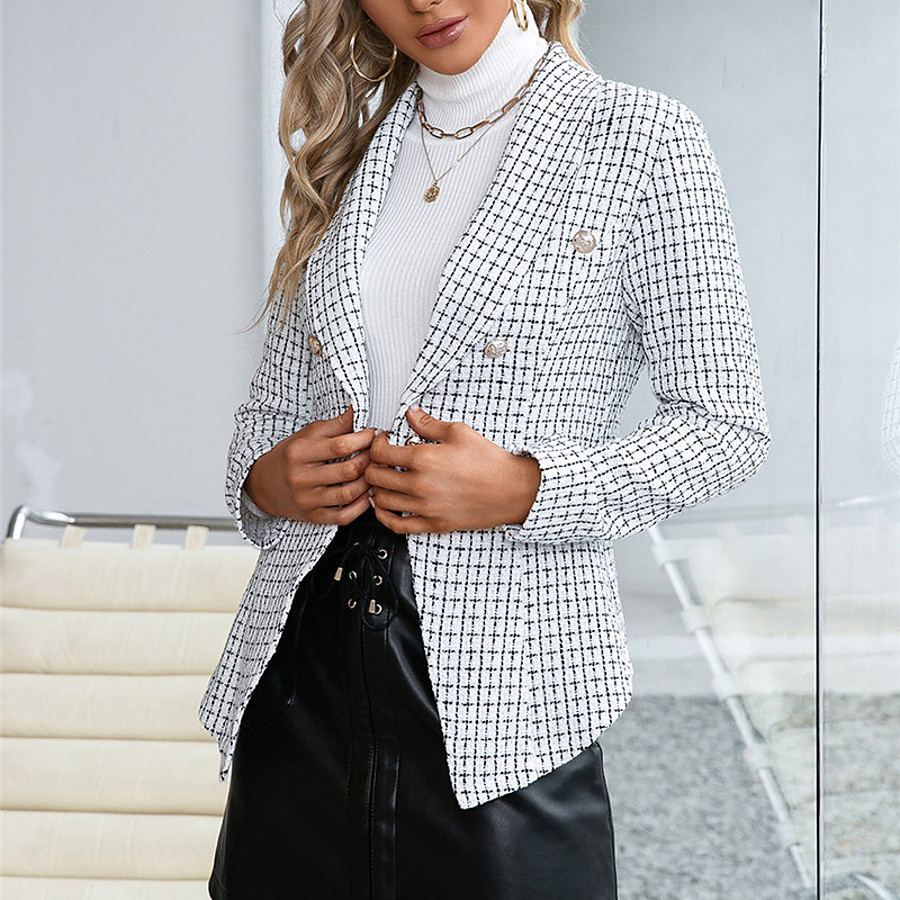 Women's Blazer Fall Winter Daily Work Regular Coat Warm Regular Fit Casual Jacket Long Sleeve Patchwork Plaid / Check White Black