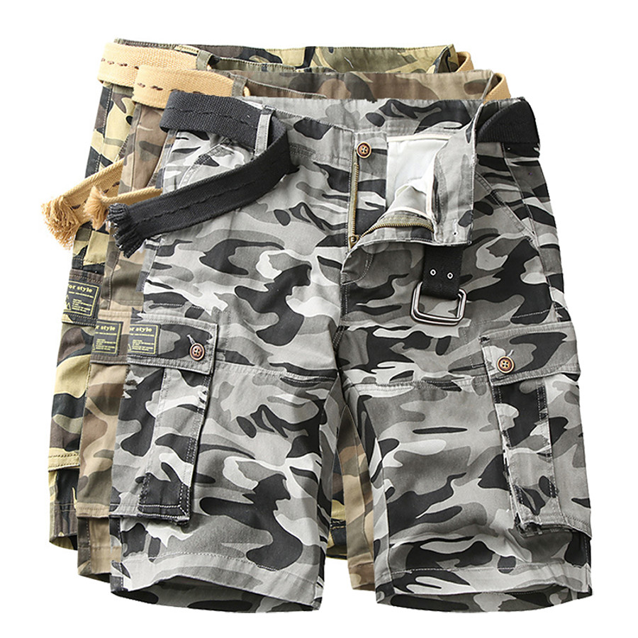 Men's Hiking Cargo Shorts Tactical Shorts Camo Shorts Summer Multi-Pockets Quick Dry Breathable Wearproof Cotton Camo / Camouflage Bottoms for Camping / Hiking Hunting Fishing Army Green Dark Gray