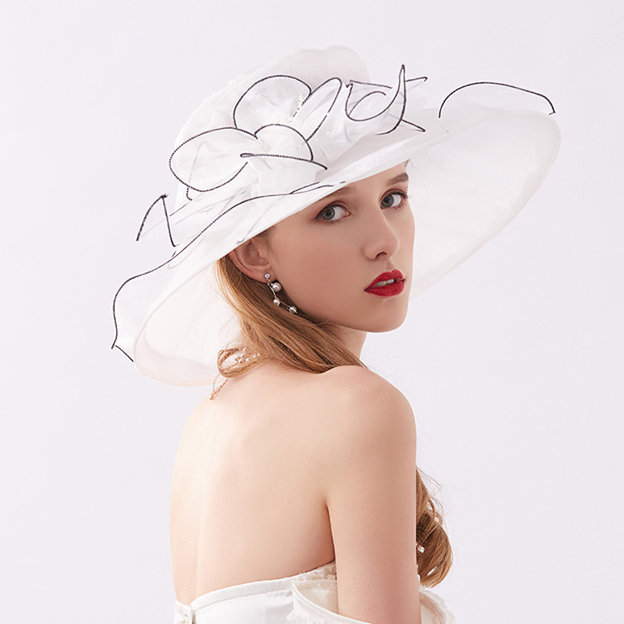 Women's Party Hat Flower Party Wedding Special Occasion Wine Black Solid Color Hat / White / Fall / Winter / Spring