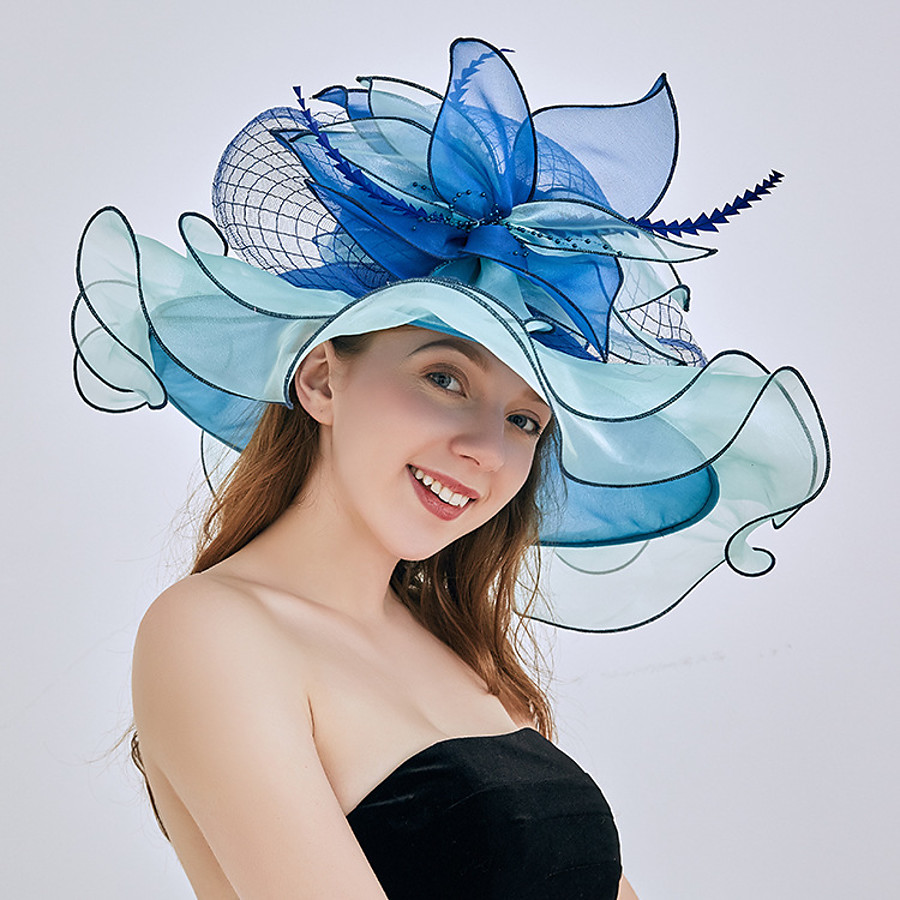 Women's Party Hat Flower Party Wedding Special Occasion Black Blue Solid Color Hat / Casual / Pink / Fall / Winter / Spring