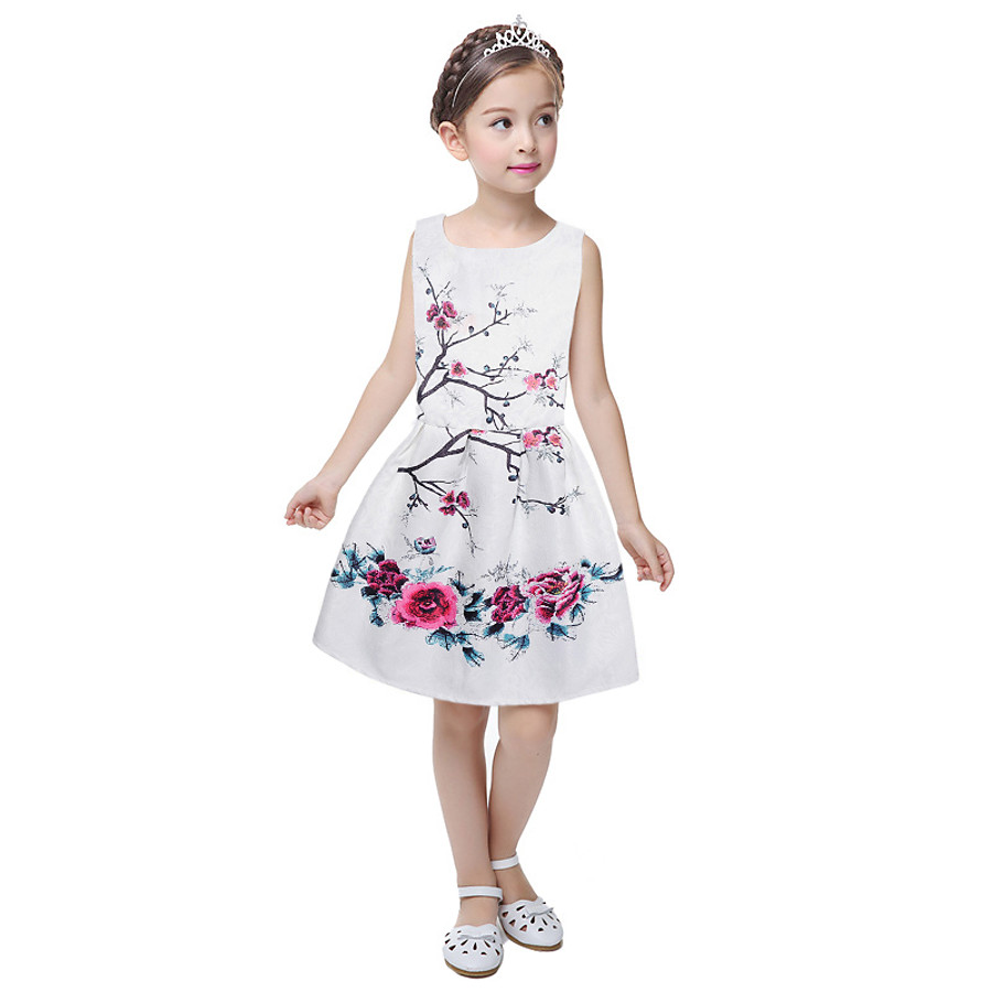 Kids Little Girls' Dress Daily Going out Print Ivory white White Blue Sleeveless Streetwear Dresses Summer