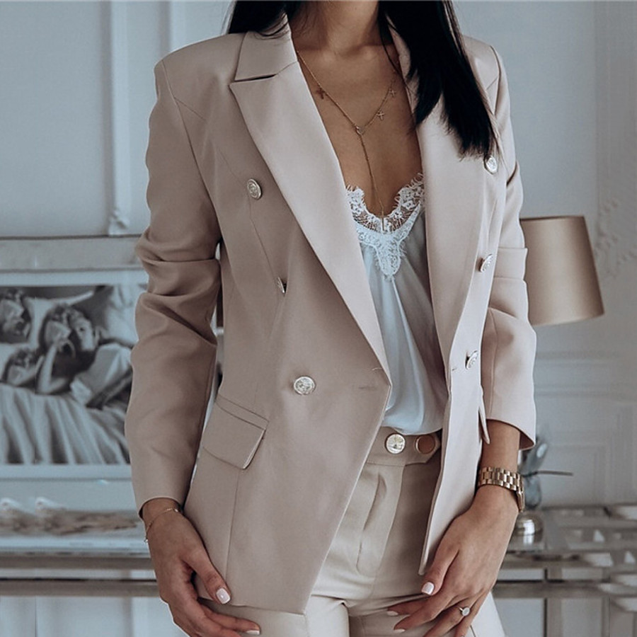 Women's Blazer Fall Winter Daily Work Regular Coat Warm Regular Fit Casual Jacket Long Sleeve Quilted Solid Color Blushing Pink White Navy Blue