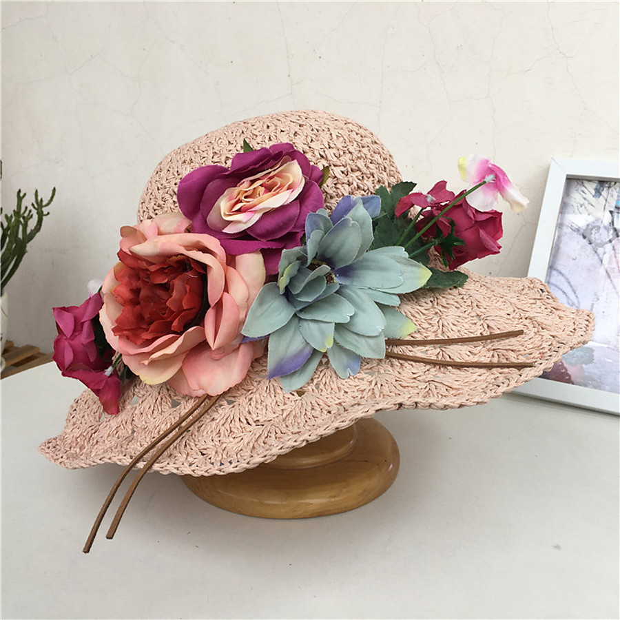 Women's Straw Hat Flower Party Wedding Special Occasion Beige Pink Flower Hat / Casual / Khaki / Fall / Spring / Summer