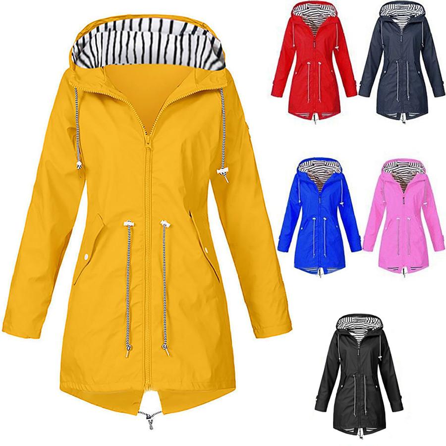 women's rain jacket zip up military anorak parka jacket with hoodie drawstring plus sizes waterproof windbreaker long raincoat hooded rain coat top fishing hiking climbing gray