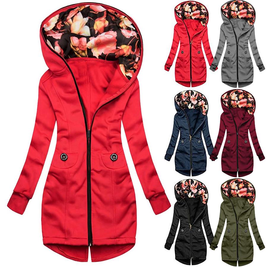 Women's Cotton Hoodie Sweatshirt Hoodie Jacket Hiking Jacket Winter Outdoor Quick Dry Lightweight Breathable Sweat wicking Outerwear Coat Top Fishing Climbing Running Blue Army Green Grey Burgundy