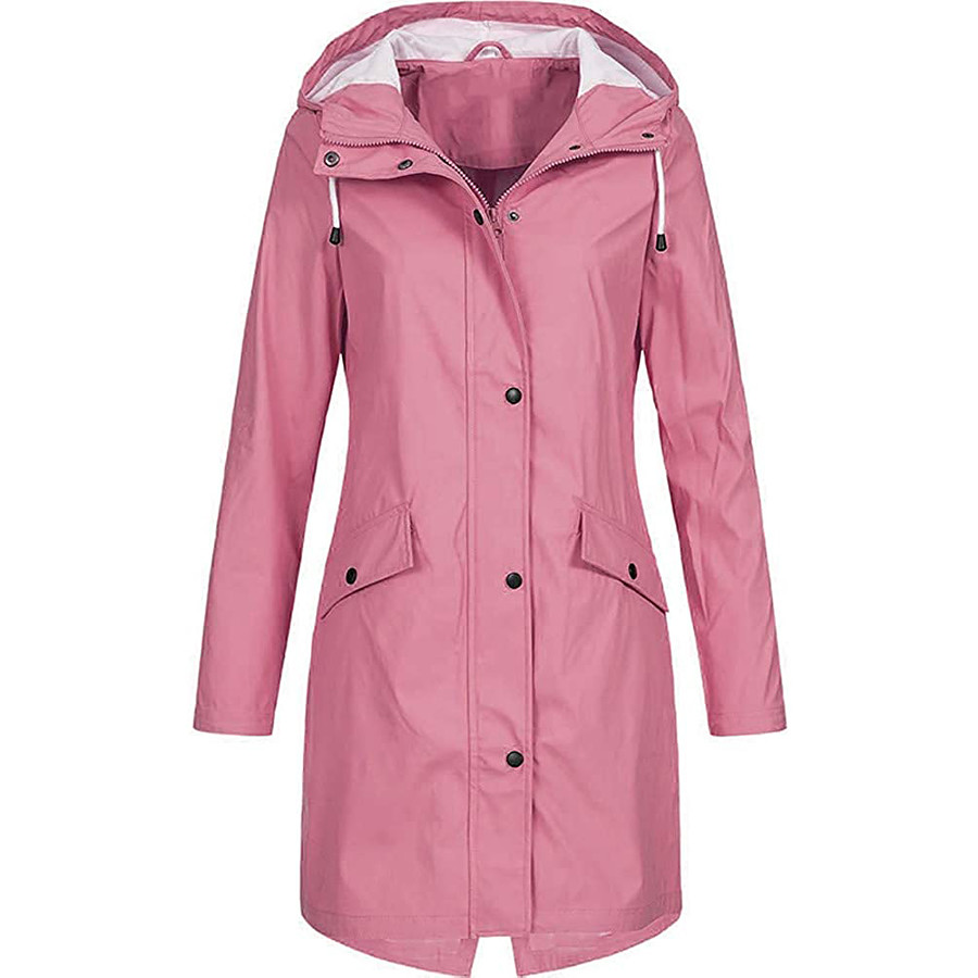 Women's Spandex Hoodie Jacket Hiking Windbreaker Winter Outdoor Windproof Quick Dry Front Zipper Lightweight Solid Color Full Length Visible Zipper Outerwear Coat Parka Camping / Hiking Hunting Ski